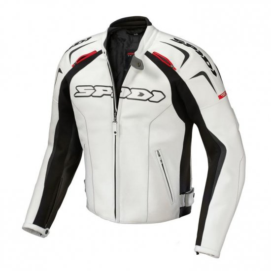 SPIDI TRACK WIND LEATHER JACKET < white/black > - Click Image to Close