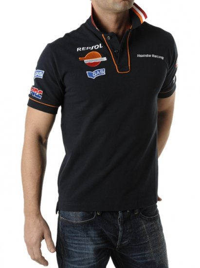 "GAS HRC HONDA - POLO SHIRT ""RECK REP COLL"" NAVY - Click Image to Close"
